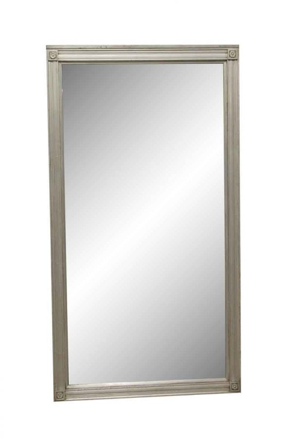 Antique Mirrors - Antique 53 x 28.5 Nickel Frame Mirror with Floret Details