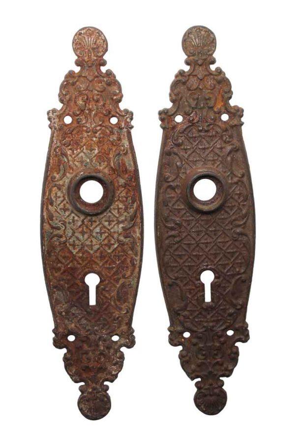 Back Plates - Antique 9 in. Sargent Cast Iron Door Back Plates