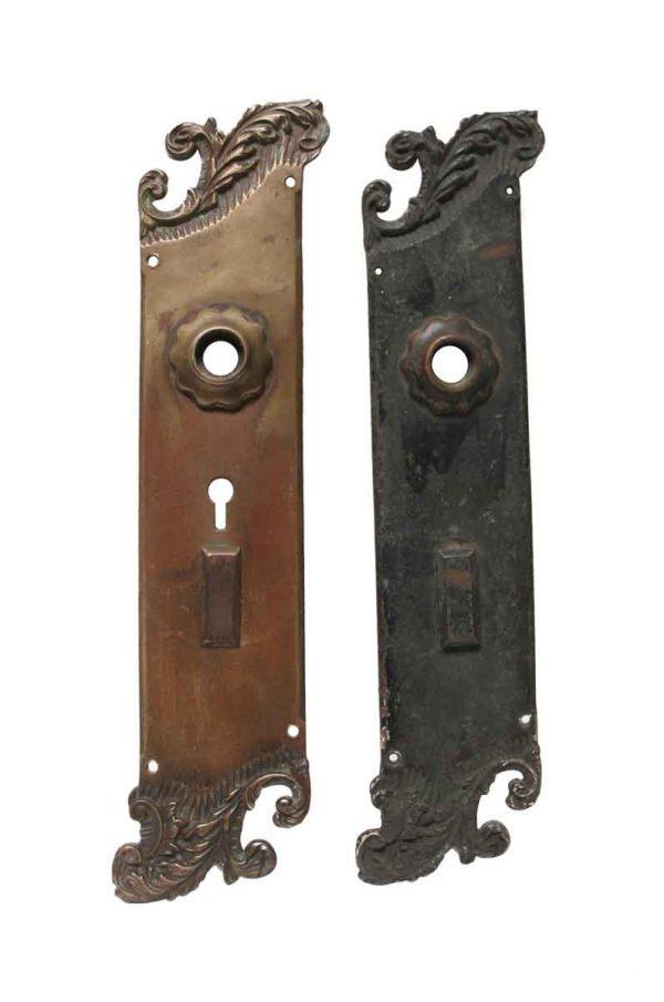 Back Plates - Pair of Art Nouveau Bronze Reading Door Back Plates