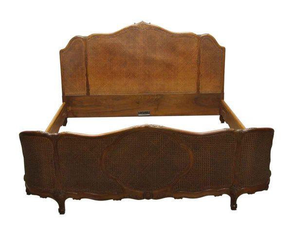 Bedroom - Antique Walnut & Cane Art Deco King Size Bed Frame