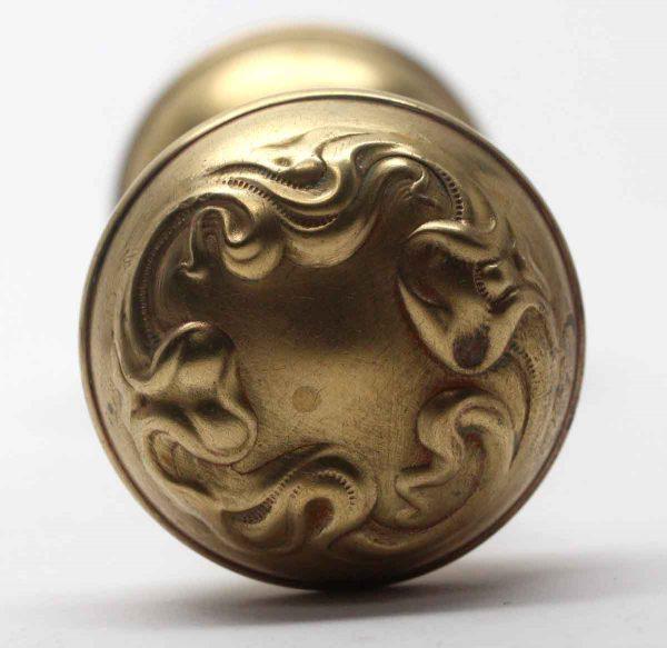 Door Knobs - Antique Alby Art Nouveau Brass Entry Door Knobs
