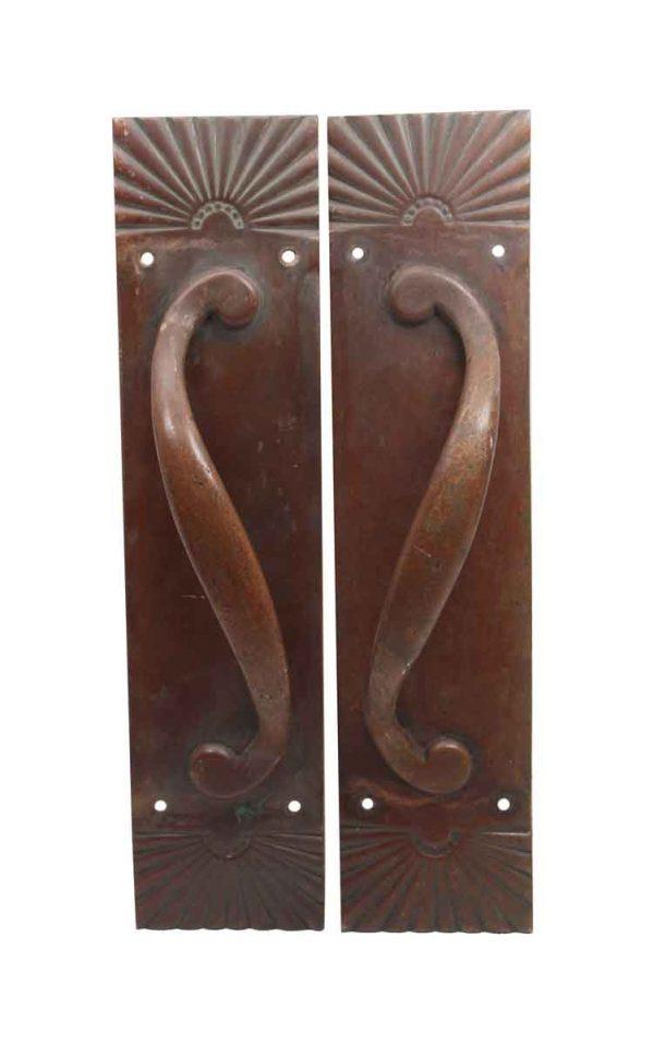 Door Pulls - Antique Pair of Bronze Sunburst Door Pull Handles