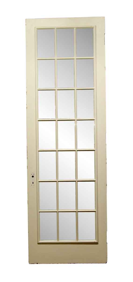 French Doors - Antique White 21 Mirrored Panel Wood Door 110.5 x 36