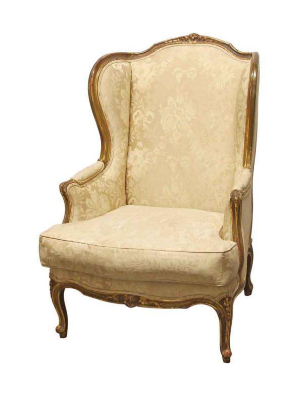 Living Room - Antique Carved Wood Stuffed Wing Back Chair