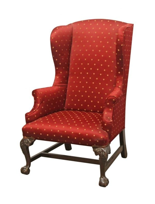 Living Room - Antique Wing Back Red Chair with Carved Wood Legs