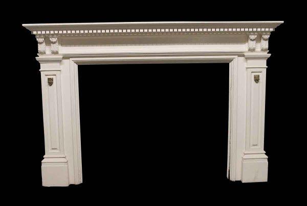 Mantels - Antique Dentil Carved White Wooden Mantel