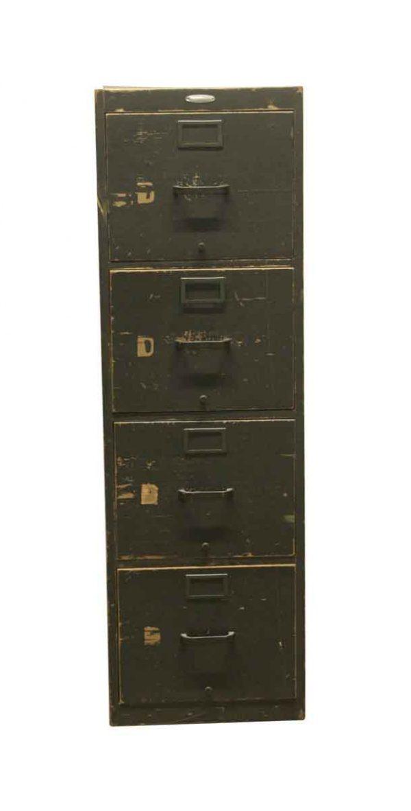 Office Furniture - Vintage 4 Drawer Wooden Green File Cabinet