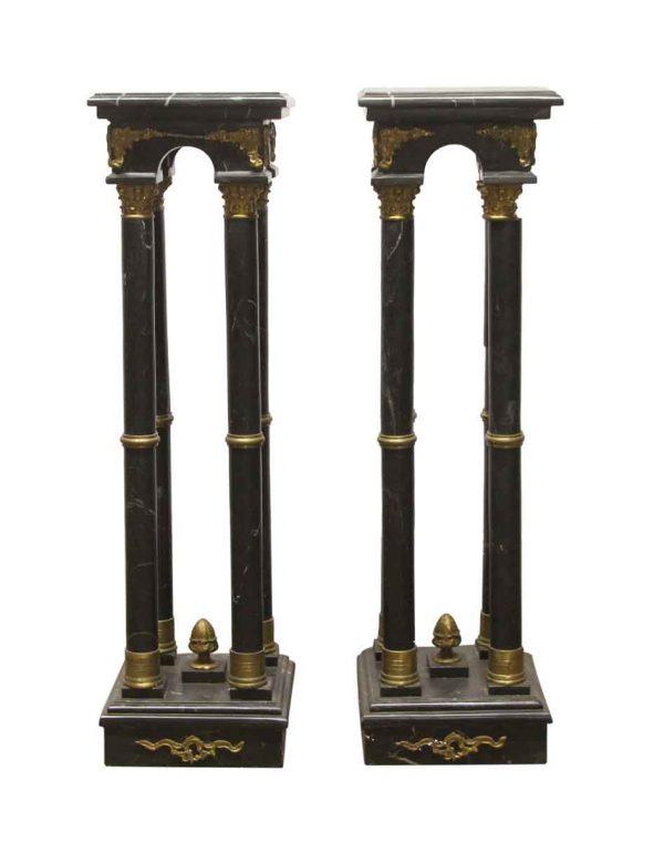 Pedestals - Pair of 4 Foot Black Marble & Brass Column Pedestals
