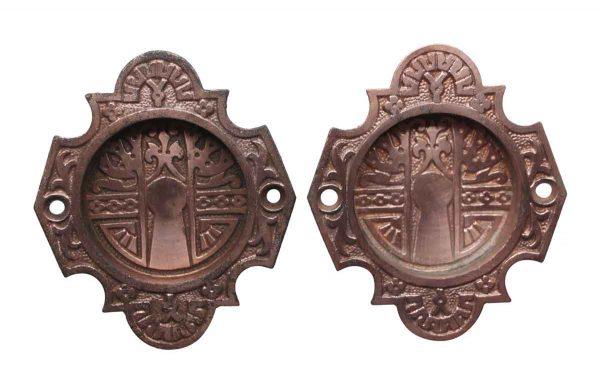 Pocket Door Hardware - Aesthetic Copper Over Iron Pocket Door Plates