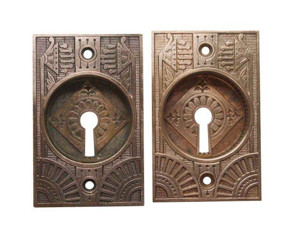 Pocket Door Hardware - Antique Bronze Aesthetic Pair of Pocket Door Plates