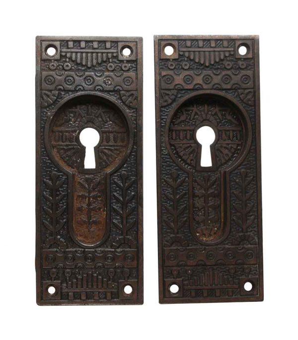 Pocket Door Hardware - Antique Cast Iron Aesthetic Pocket Door Pull Plates