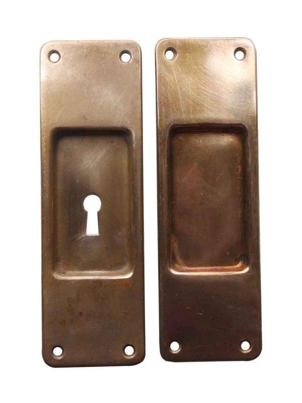 Pocket Door Hardware - Antique Plain Bronze Pocket Door Handles