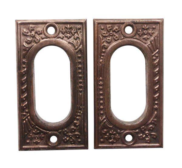 Pocket Door Hardware - Pair of Antique Steel Pocket Door Plates
