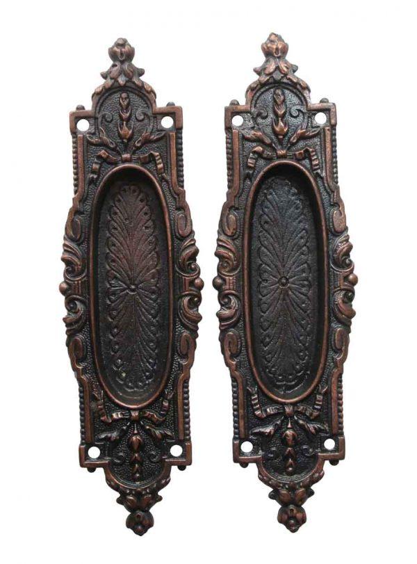 Pocket Door Hardware - Pair of Cast Iron Arabian Pocket Door Plates