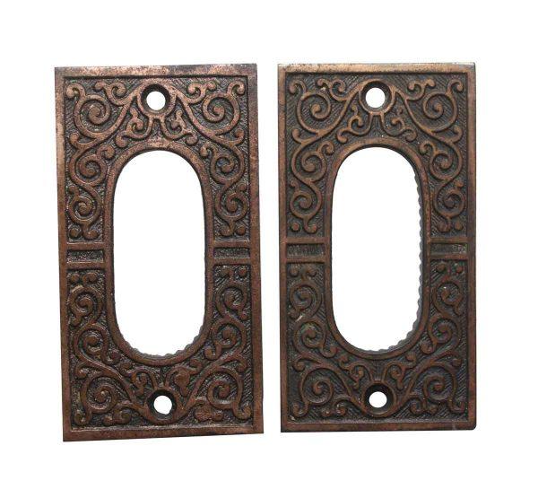 Pocket Door Hardware - Victorian Pair of Brass Plated Cast Iron Pocket Door Plates
