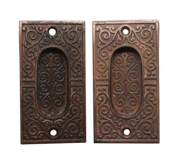 Pocket Door Hardware - Victorian Pair of Cast Iron Pocket Door Plates