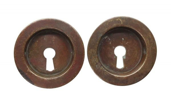 Pocket Door Hardware - Vintage Pair of Round Brass Pocket Door Plates
