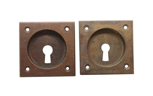 Pocket Door Hardware - Vintage Pair of Square Brass Pocket Door Plates