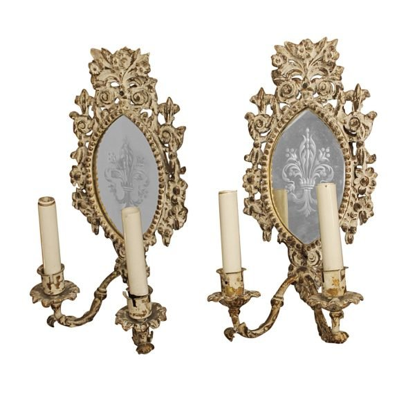 Sconces & Wall Lighting - Pair of Antique Mirrored French Wooden Sconces