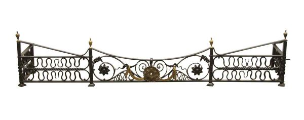 Screens & Covers - Antique Wrought Iron Fireplace Fender with Brass Details
