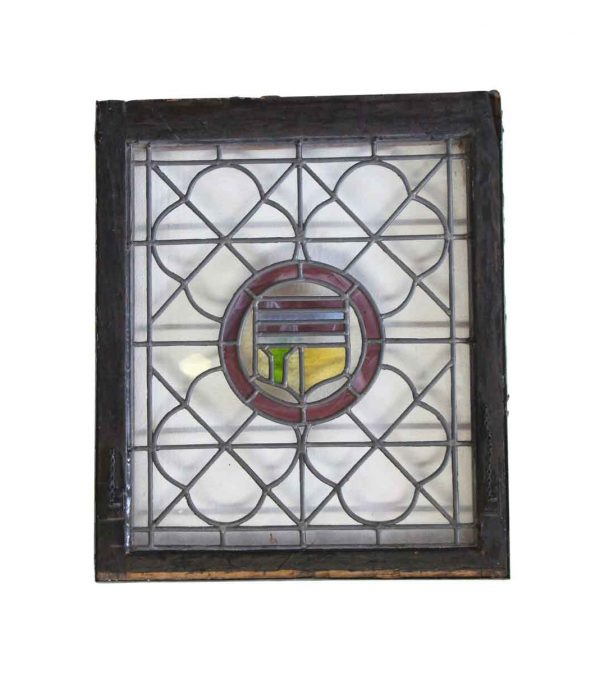 Stained Glass - Antique 29.75 x 25 Stained Glass Shield Window