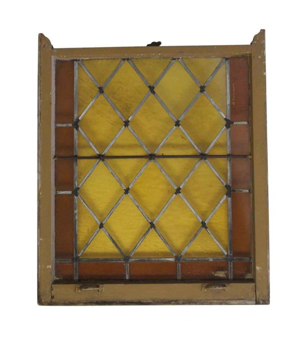 Stained Glass - Antique 38.5 x 32.25 Amber Stained Glass Window