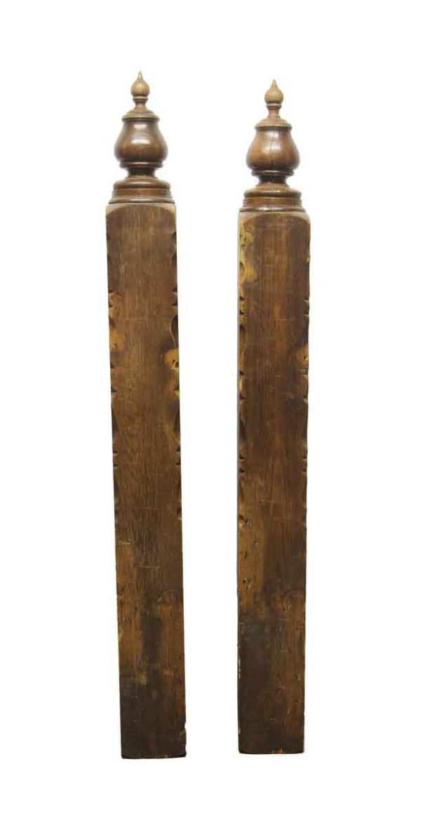 Staircase Elements - Pair of Salvaged Wooden Newel Posts with Flame Finials