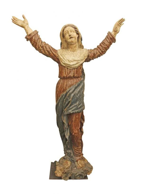 Statues & Fountains - Antique 1800s Hand Carved Wooden Saint Statue