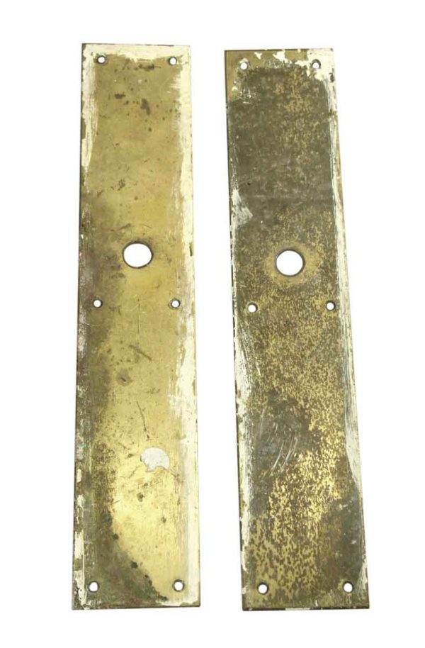 Back Plates - Pair of Thin Brass Door 15 in. Back Plates