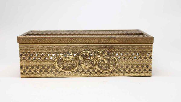 Bathroom - Vintage Brass Plated Steel Ornate Tissue Box