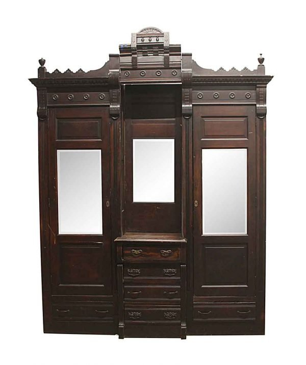 Cabinets & Bookcases - 1880s Victorian Built in Walnut Armoire with Dresser & Mirrors