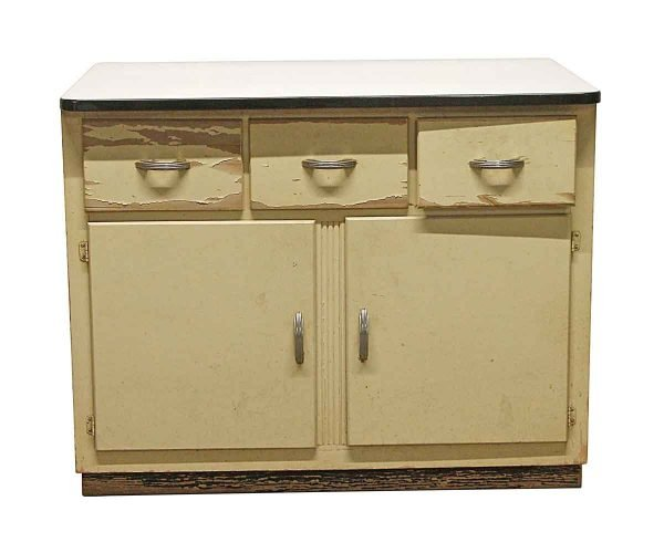 Cabinets & Bookcases - Vintage Kitchen Metal Cabinet with Art Deco Handles