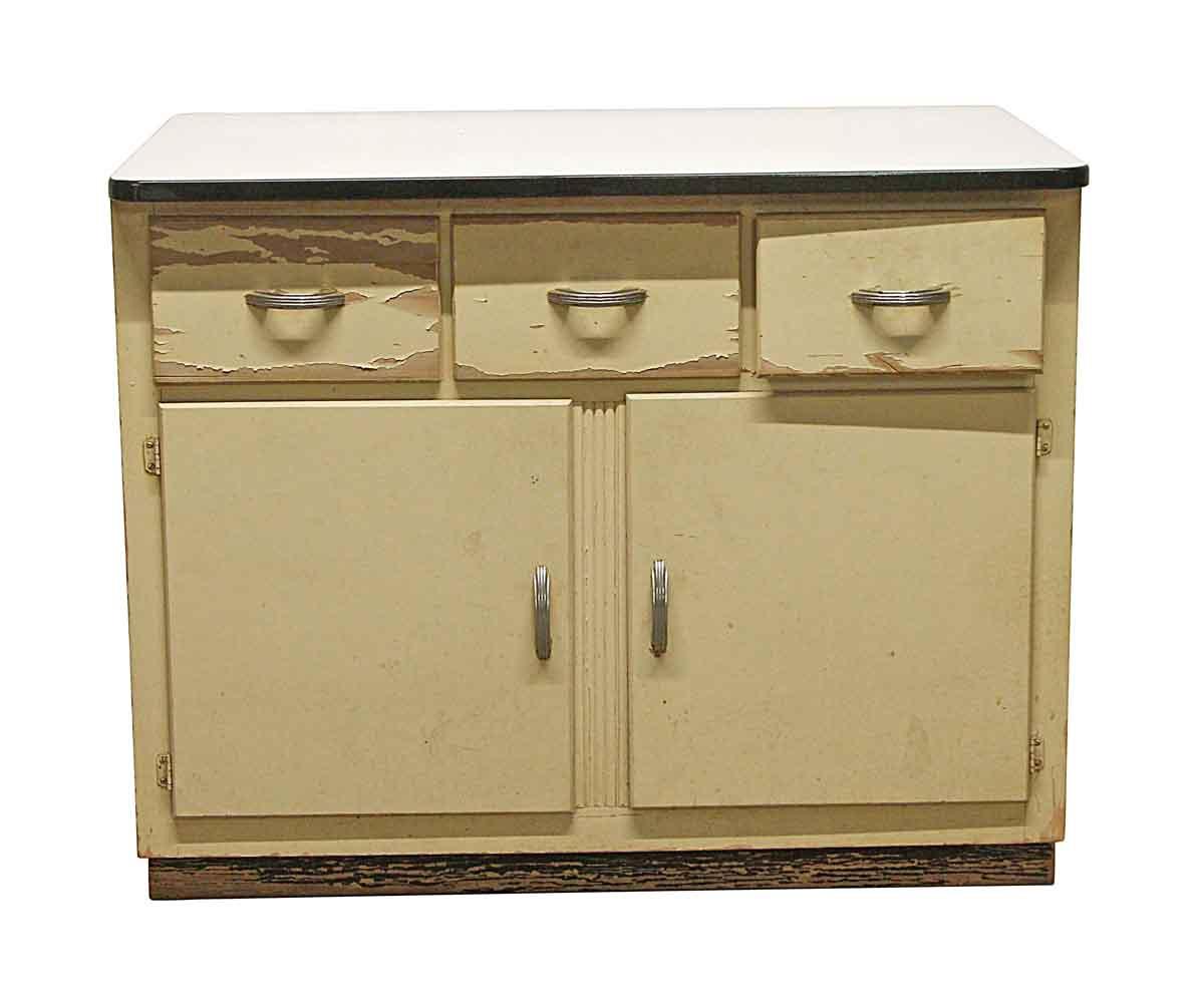 Metal Cabinet With Art Deco Handles