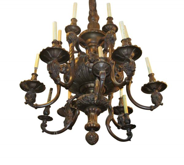 Chandeliers - 1890s Heavy Cast Brass 18 Arm French Chandelier