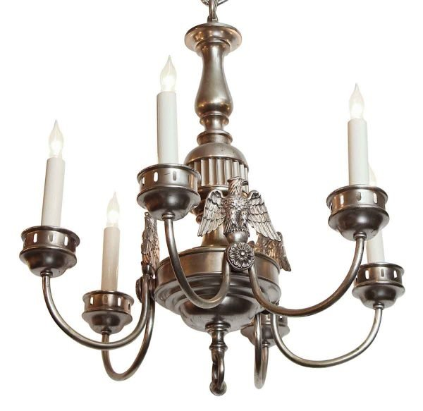 Chandeliers - 1900s Sterling Bronze Company Federal Silver 6 Arm Chandelier
