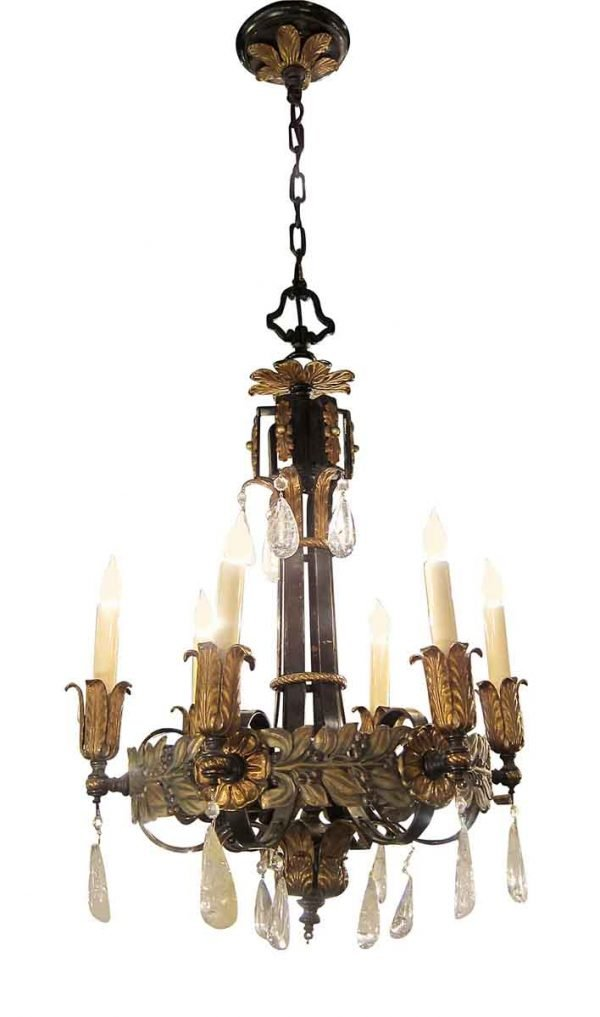 Chandeliers - 1920s Art Nouveau 6 Arm Crystal & Bronze Chandelier
