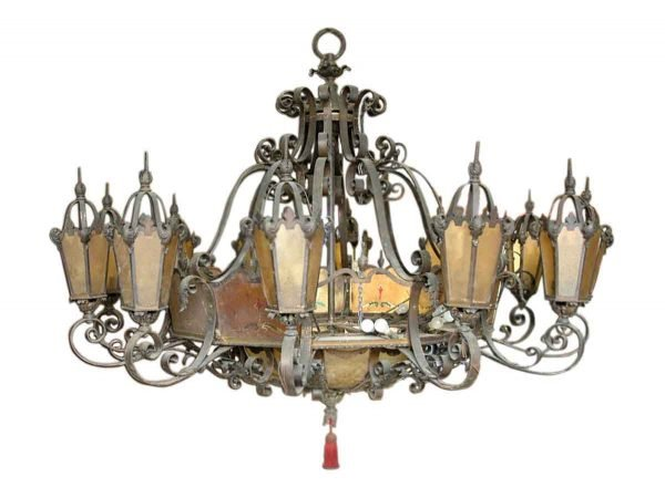 Chandeliers - 1920s Huge Bronze and Iron Gothic Theater Chandelier