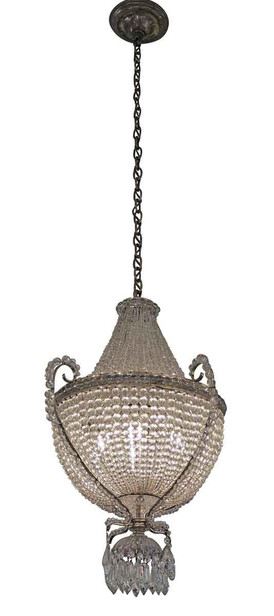 Chandeliers - 1920s Victorian Basket Crystal Chandelier