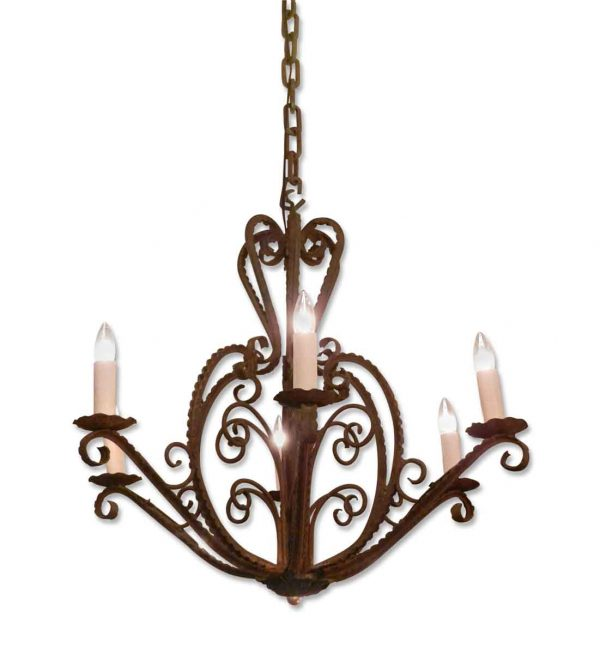 Chandeliers - 1950s French Country Wrought Iron 6 Arm Chandelier