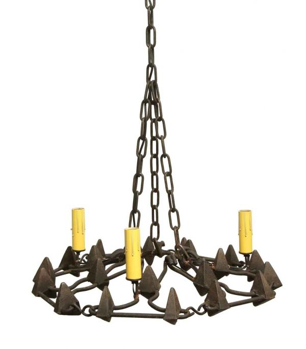 Chandeliers - 1950s French Wrought Iron 3 Light Chandelier with Triangle Acorns