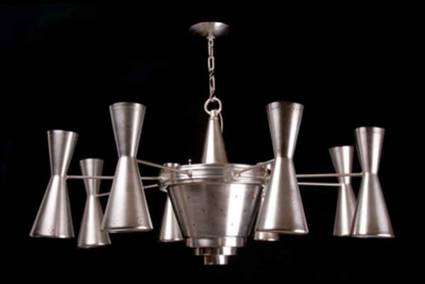 Chandeliers - 1950s Sputnik Style Nickel 8 Arm Chandelier