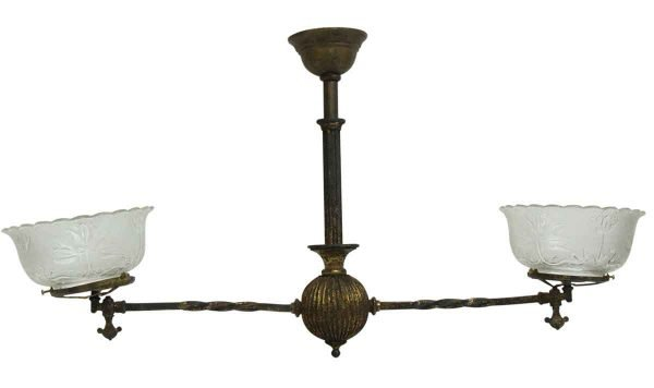 Chandeliers - 19th Century 2 Arm Gas Victorian Fixture with Glass Shades