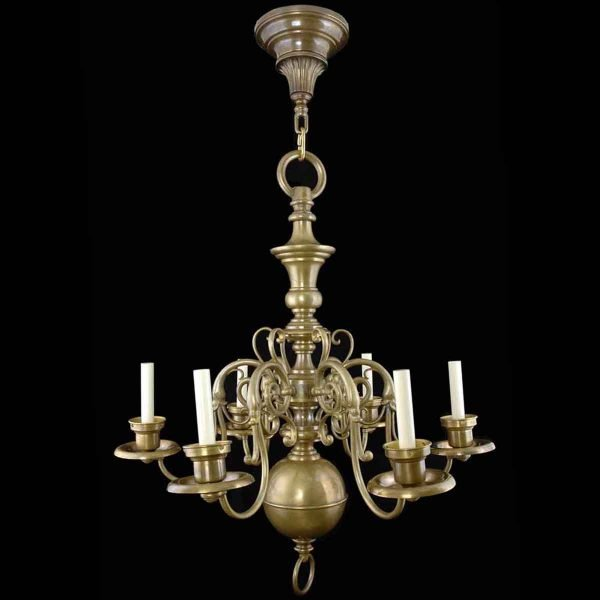 Chandeliers - 19th Century Williamsburg Style Brass 6 Arm Chandelier