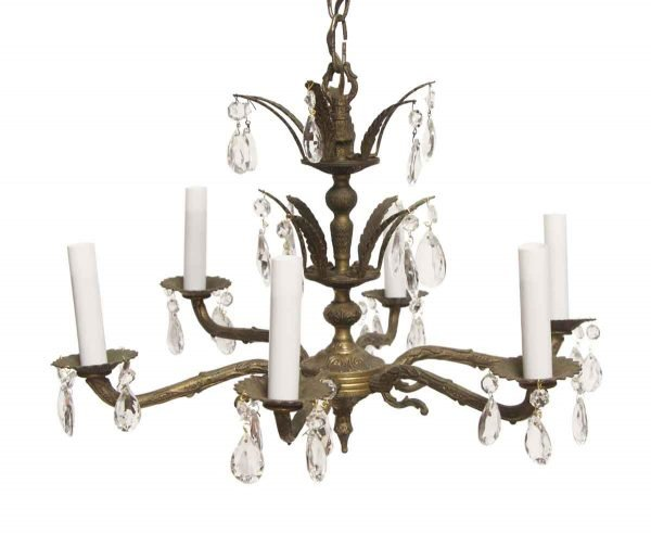 Chandeliers - 6 Light Traditional Antique Brass Chandelier