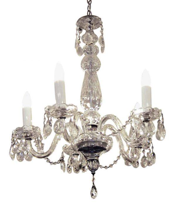 Chandeliers - Antique 1920s Victorian 5 Light Crystal Chandelier