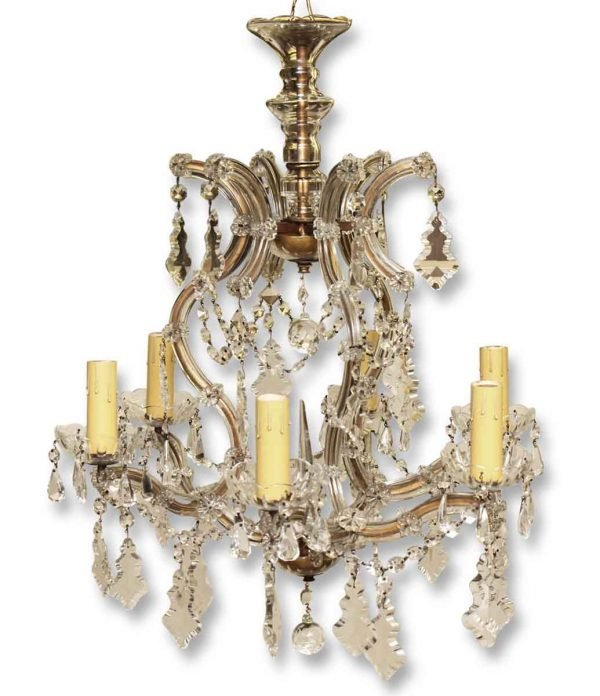 Chandeliers - Antique 1930s Marie Therese Crystal 6 Arm Chandelier