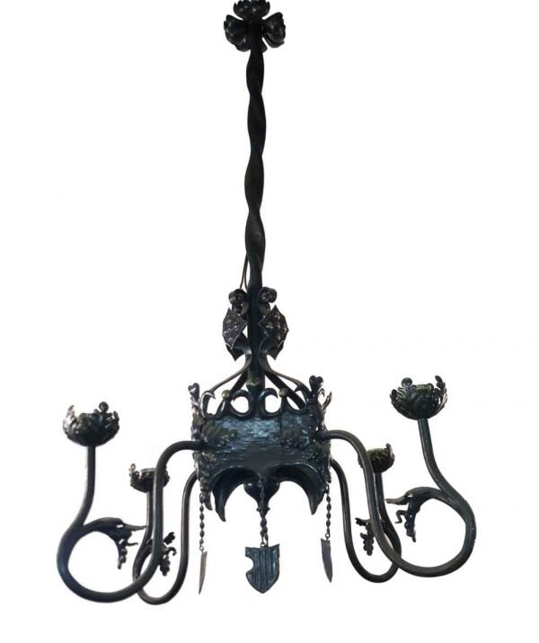 Chandeliers - Antique 4 Arms Gothic Green Wrought Iron Chandelier
