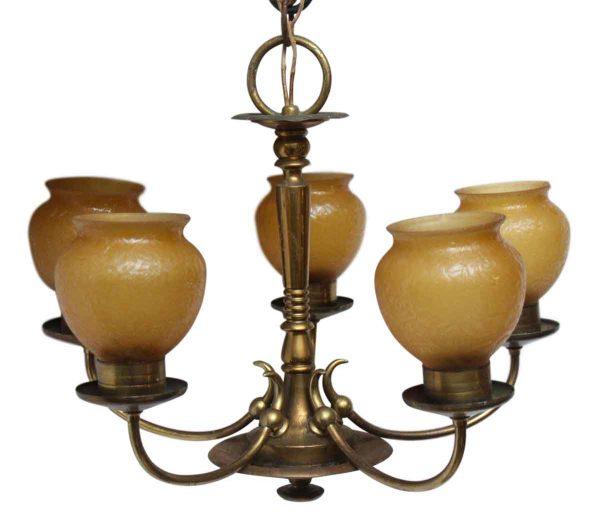 Chandeliers - Antique 5 Arm Brass Amber Slip Shade Art Deco Chandelier