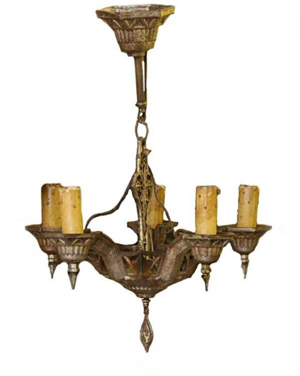 Chandeliers - Antique 5 Light Cast Iron Art Deco Chandelier