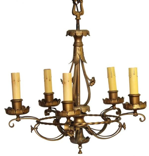 Chandeliers - Antique 5 Light French Chandelier with Gold Finish